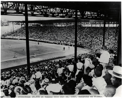 Ruppert Stadium, the home of the Monarchs. The stadium was first known as Muehlebach Field (1923), then Ruppert Stadium (1937), and later Blues Stadium (1943). It was completely rebuilt and renamed Municipal Stadium in 1955. (Courtesy Noir-Tech Research, Inc.)