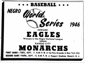 Advertisement for the 1946 Negro League World Series
