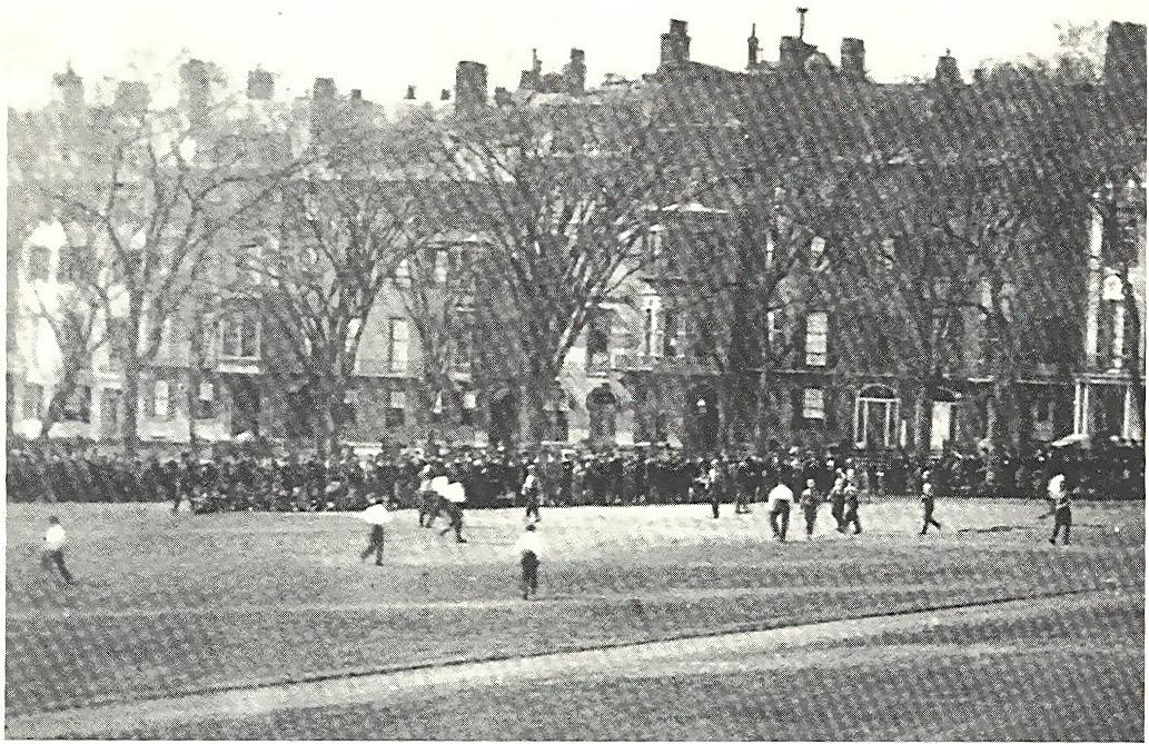Baseball on Boston Common, on the parade grounds.