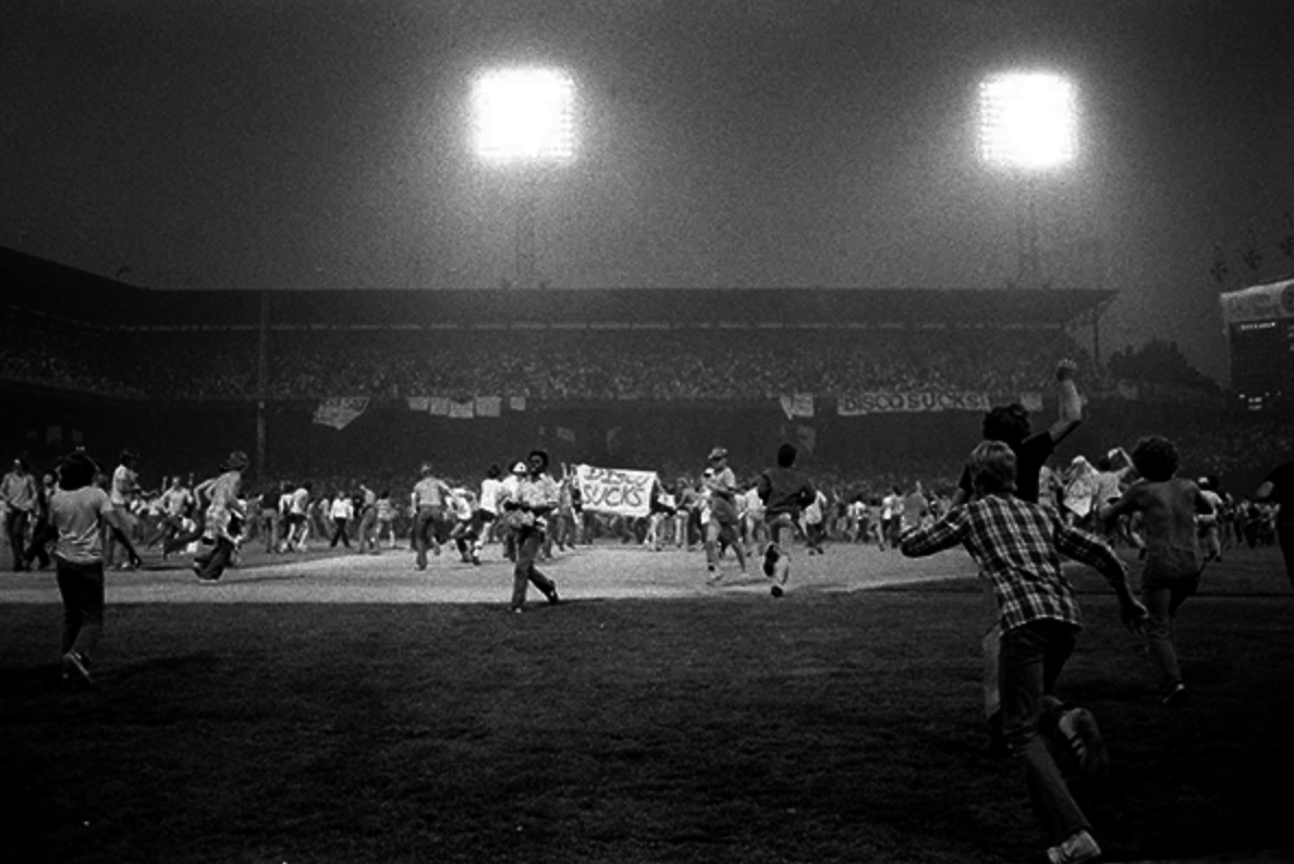 Disco Demolition Night on July 12, 1979 (COURTESY OF SPORTS ILLUSTRATED)