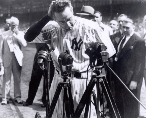 Lou Gehrig pauses while giving a farewell address on July 4, 1939, at Yankee Stadium in New York (NATIONAL BASEBALL HALL OF FAME LIBRARY)