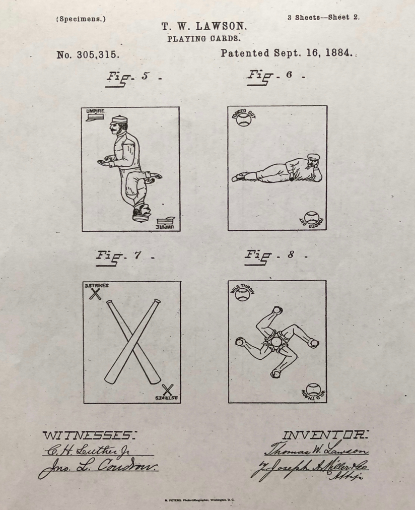 Thomas Lawson baseball playing cards patent