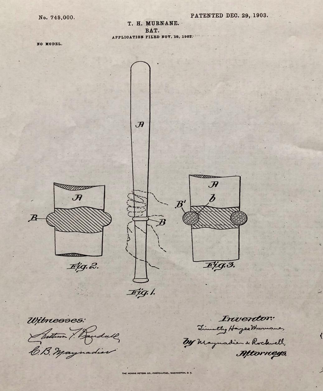 Tim Murnane baseball bat patent