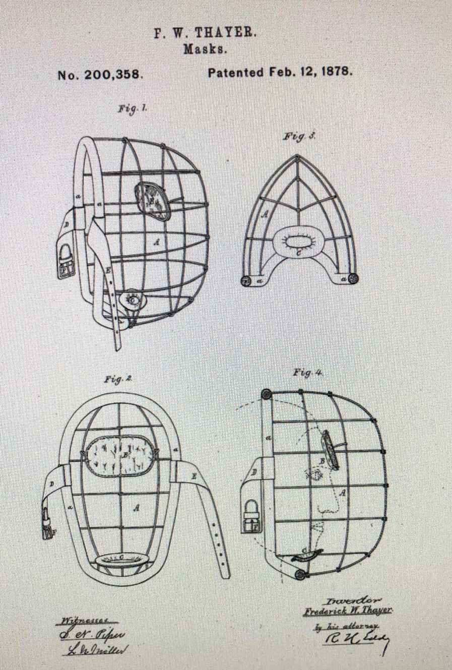 Fred Thayer catcher's mask patent