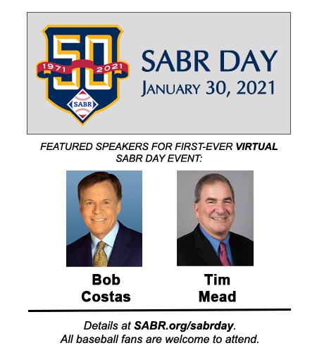 2021 SABR Day speakers: Bob Costas, Tim Mead