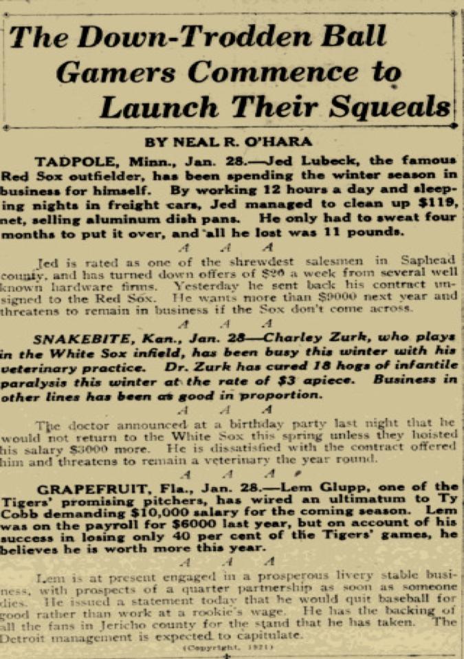 Boston Post, January 29, 1921:8.
