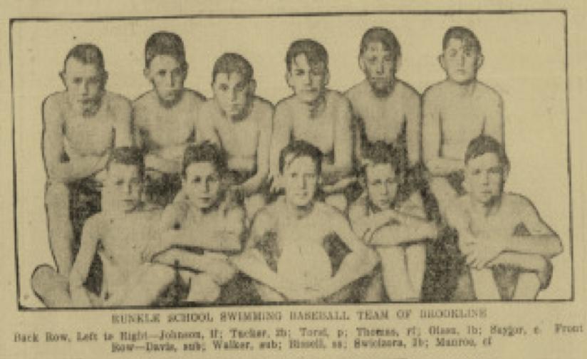Brookline swim team, 1920 (BOSTON GLOBE)