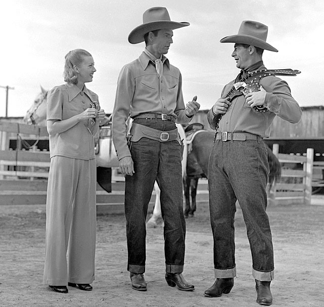 The three stars of Rawhide, (L to R): Evalyn Knapp, Smith Ballew, and Lou Gehrig. (COURTESY OF RON BACKER)