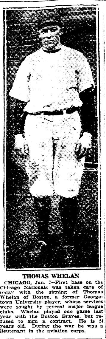 Thomas Whelan, Boston Herald, January 8, 1921:6.
