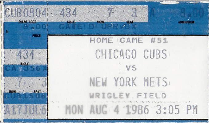 August 4, 1986 game ticket (MADISON McENTIRE)