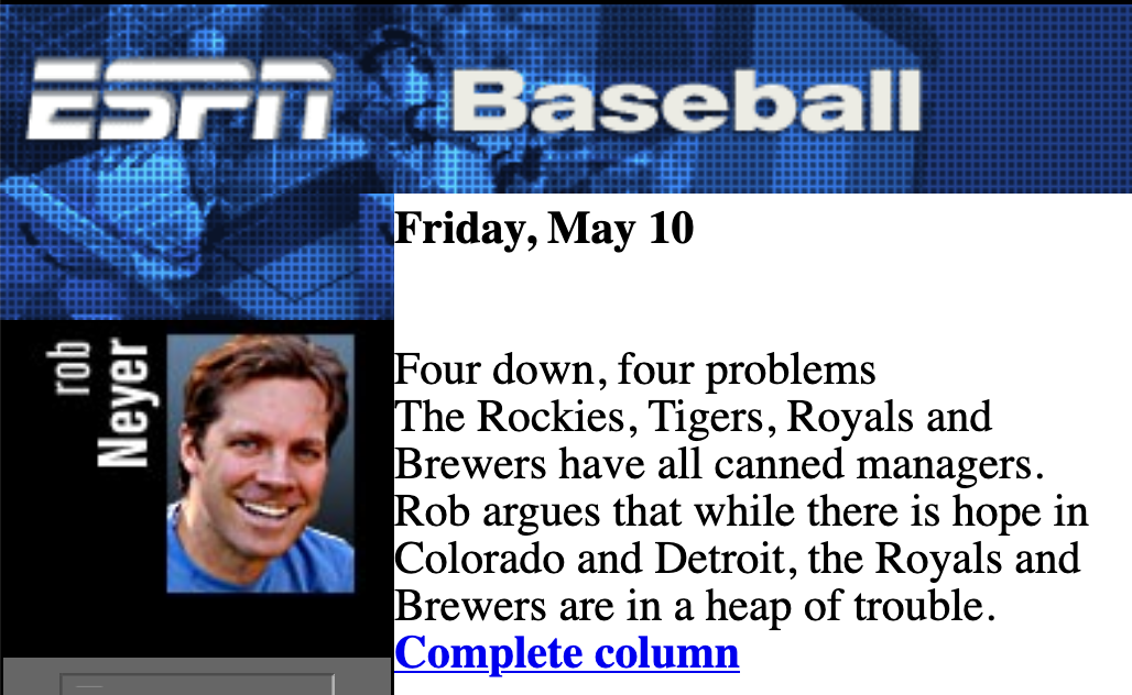 Rob Neyer's column at ESPN.com ran from 1996 to 2011 (ESPN.COM)