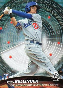 Cody Bellinger of the Los Angeles Dodgers has one of the most pronounced uppercut swings in baseball. (TRADING CARD DB)
