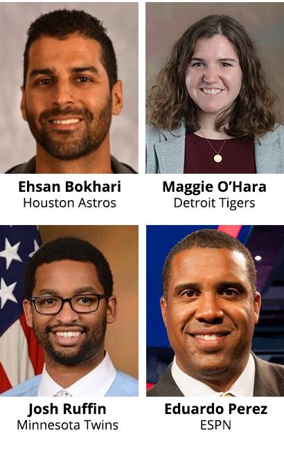 2021 SABR Analytics speakers: Ehsan Bokhari, Maggie O'Hara, Josh Ruffin, Eduardo Perez