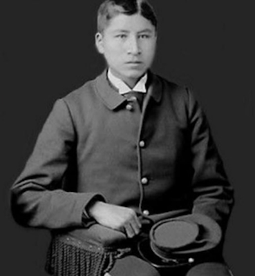 1887-88 photo of Jacob White Eyes as an 18-year-old student of the Educational Home for Boys, by John N. Choate, Carlisle, Pennsylvania, National Anthropological Archives, Smithsonian Institution.