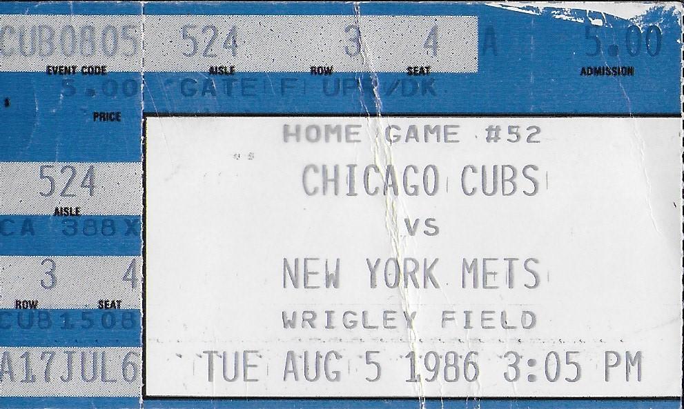 August 5, 1986 game ticket (MADISON McENTIRE)