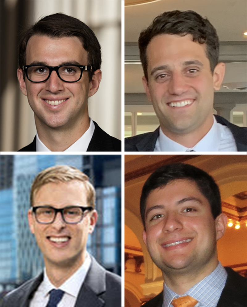 2021 Diamond Dollars Case Competition winners from the University of Chicago-Booth (clockwise from top-left): Jacob Fain, Cam Harrigan, Omar Taveras, and Trevor Million