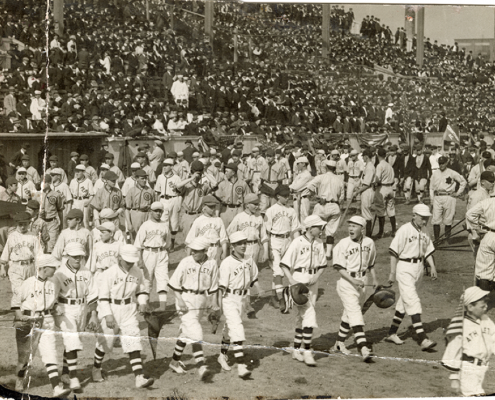 Local baseball teams parade through Harrison Park in New Jersey on Opening Day of the Federal League season on April 16, 1915 (NEWARK PUBLIC LIBRARY)