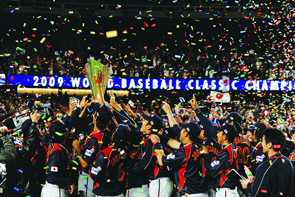 Japan celebrates its win in the 2009 World Baseball Classic Championship Game against South Korea on March 23, 2009 at Dodger Stadium in Los Angeles, California. (JUAN OCAMPO / LOS ANGELES DODGERS)