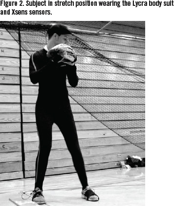 Figure 2. Subject in stretch position wearing the Lycra body suit and Xsens sensors. (PAUL CANAVAN)