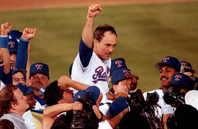 Nolan Ryan celebrates his 7th no-hitter on May 1, 1991 (MLB.COM)