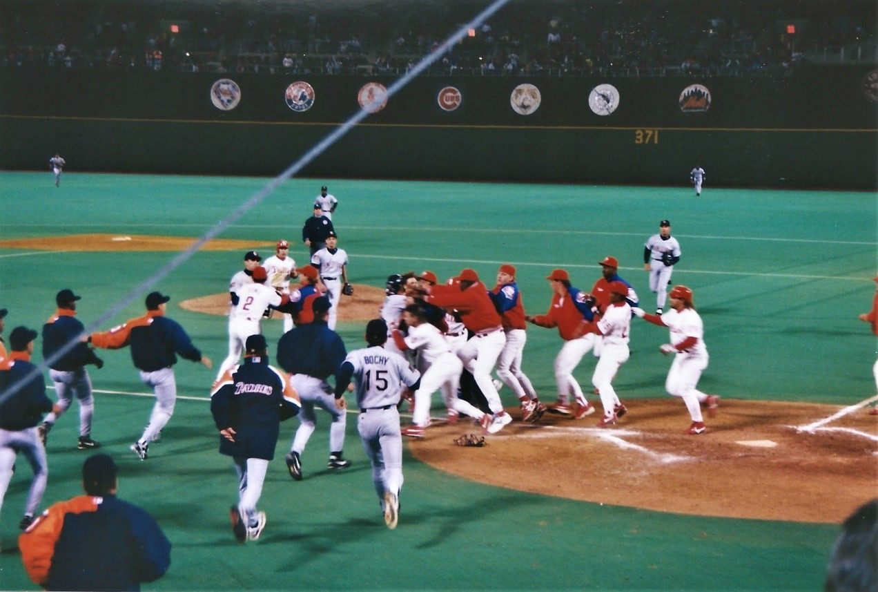 The Padres and Phillies clear the benches on May 2, 1994 (DAN CICHALSKI)