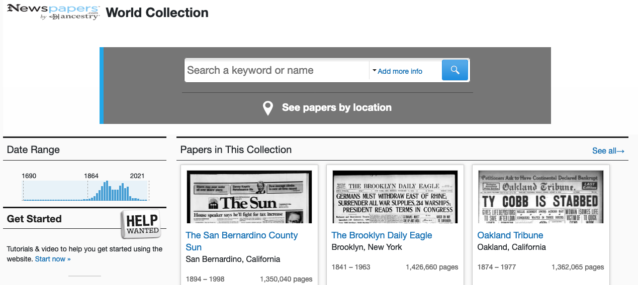 Newspapers.com World Collection