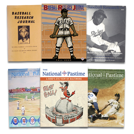 Baseball Research Journal and The National Pastime covers