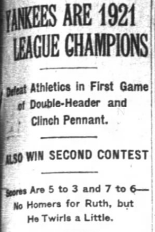 New York Times, October 2, 1921 (NEWSPAPERS.COM)