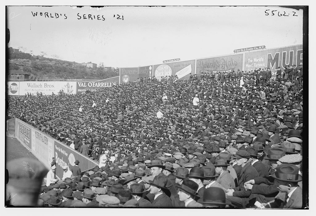 Fans in the Polo Grounds bleachers watch Game One of the World Series on October 5, 1921. (LIBRARY OF CONGRESS, BAIN NEWS SERVICE)