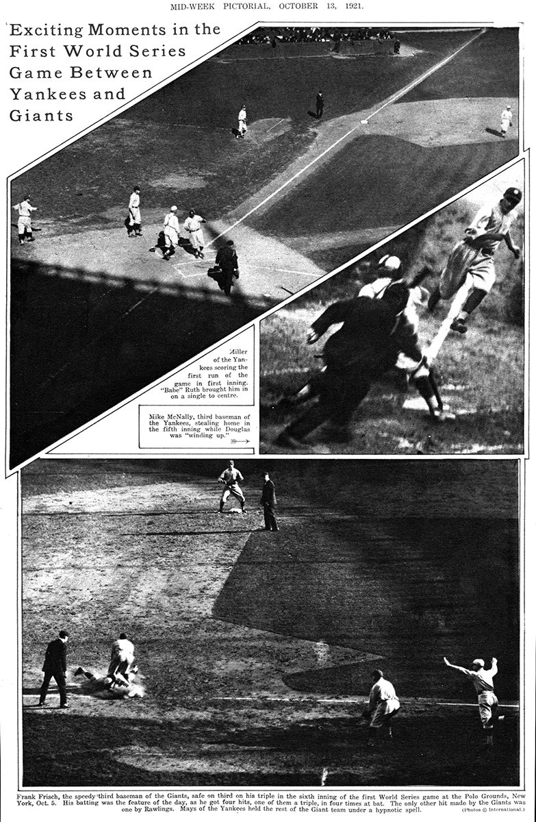 A collage of action photos from Game One of the 1921 World Series at the Polo Grounds. (SABR-RUCKER ARCHIVE)