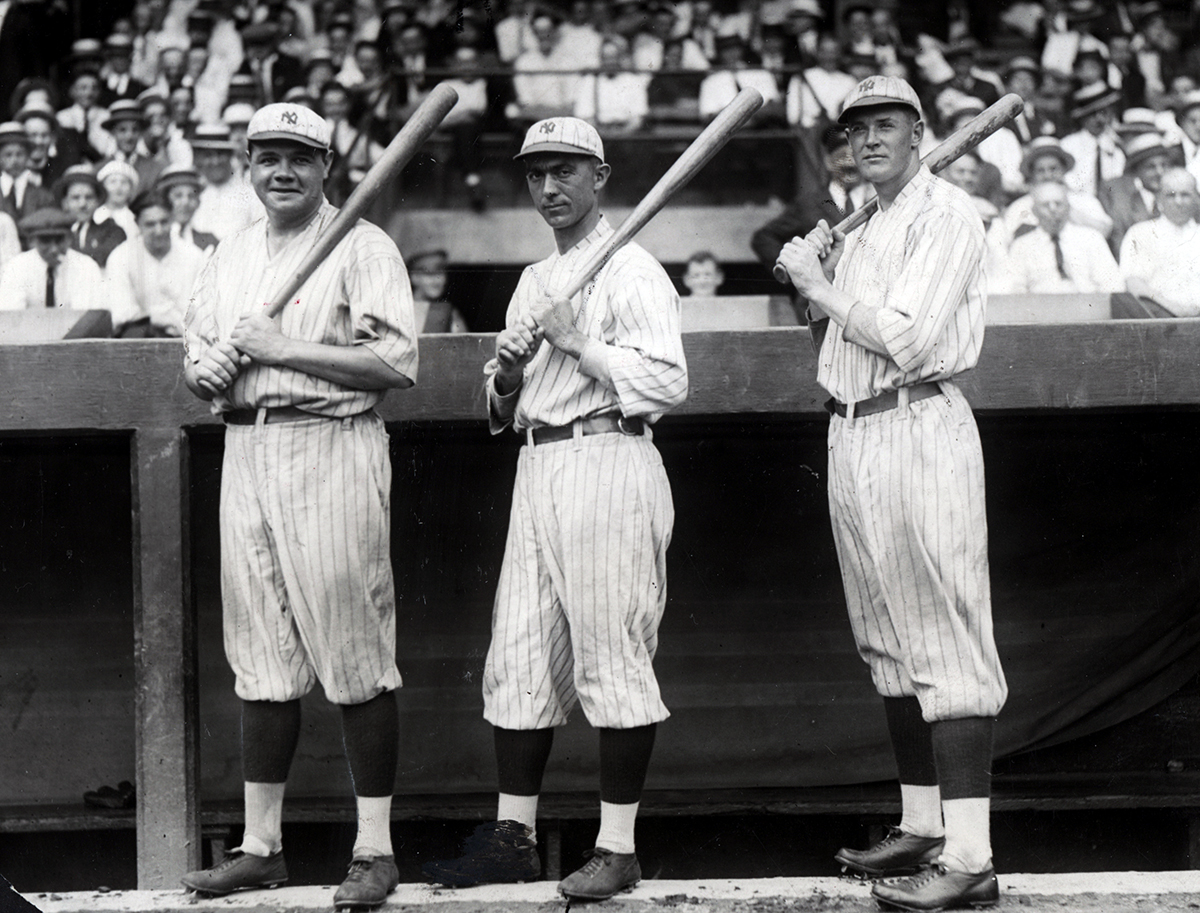 Babe Ruth, Frank Baker, and Bob Meusel (SABR-RUCKER ARCHIVE)