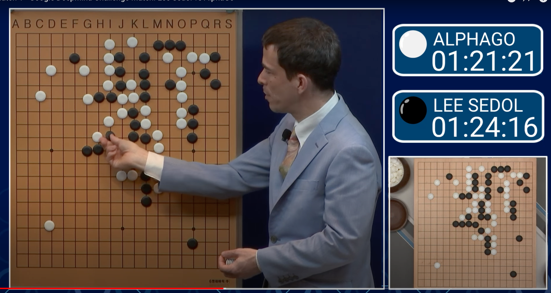 Using machine learning, AlphaGo taught itself the game of Go, and in 2016 beat 18-time world champion Lee Sedol. Pictured here is Go professional Michael Redmond providing a play-by-play commentary on the AlphaGo/Sedol match. (DEEPMIND)