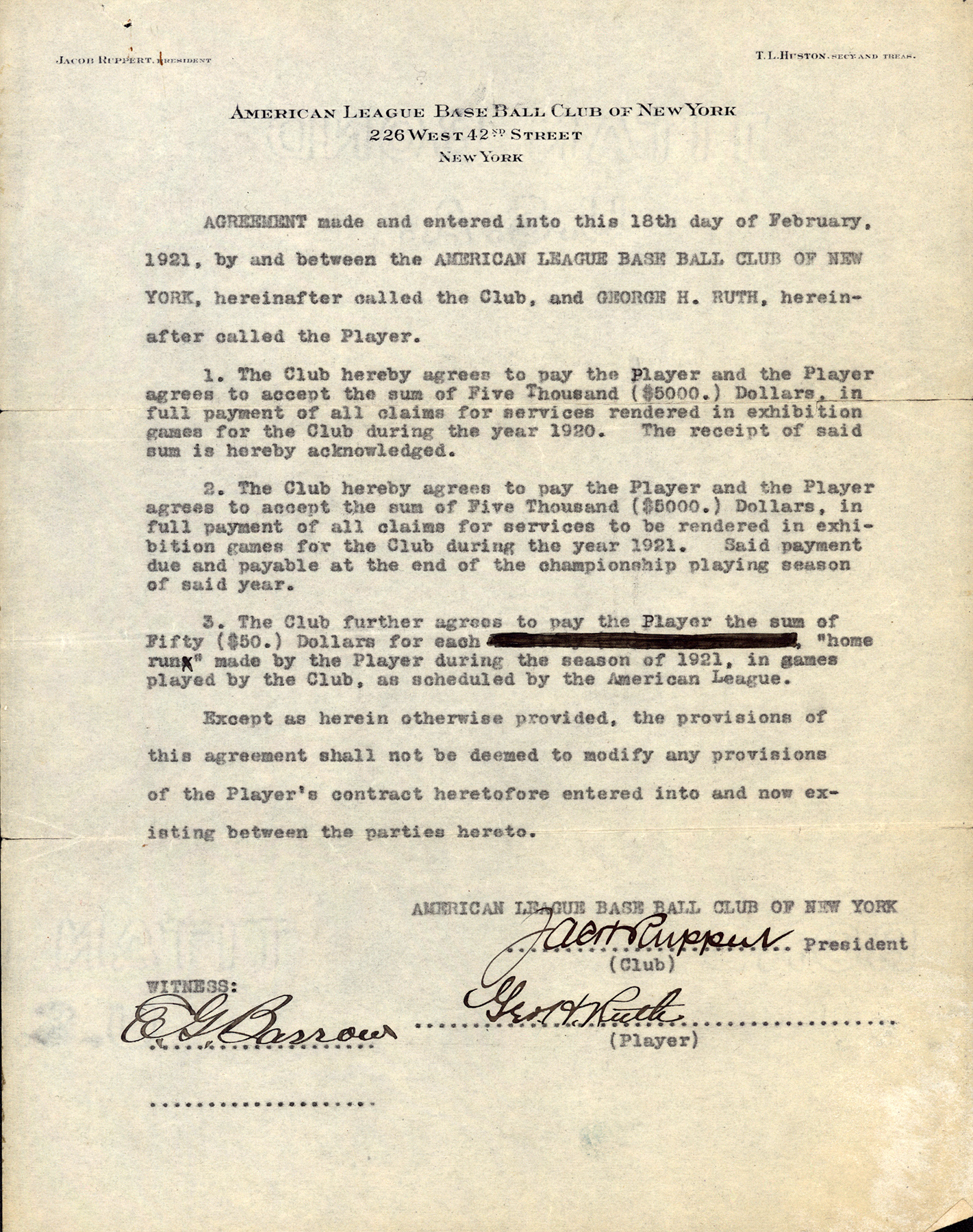 Babe Ruth's 1921 contract with the New York Yankees (COURTESY OF MICHAEL HAUPERT)