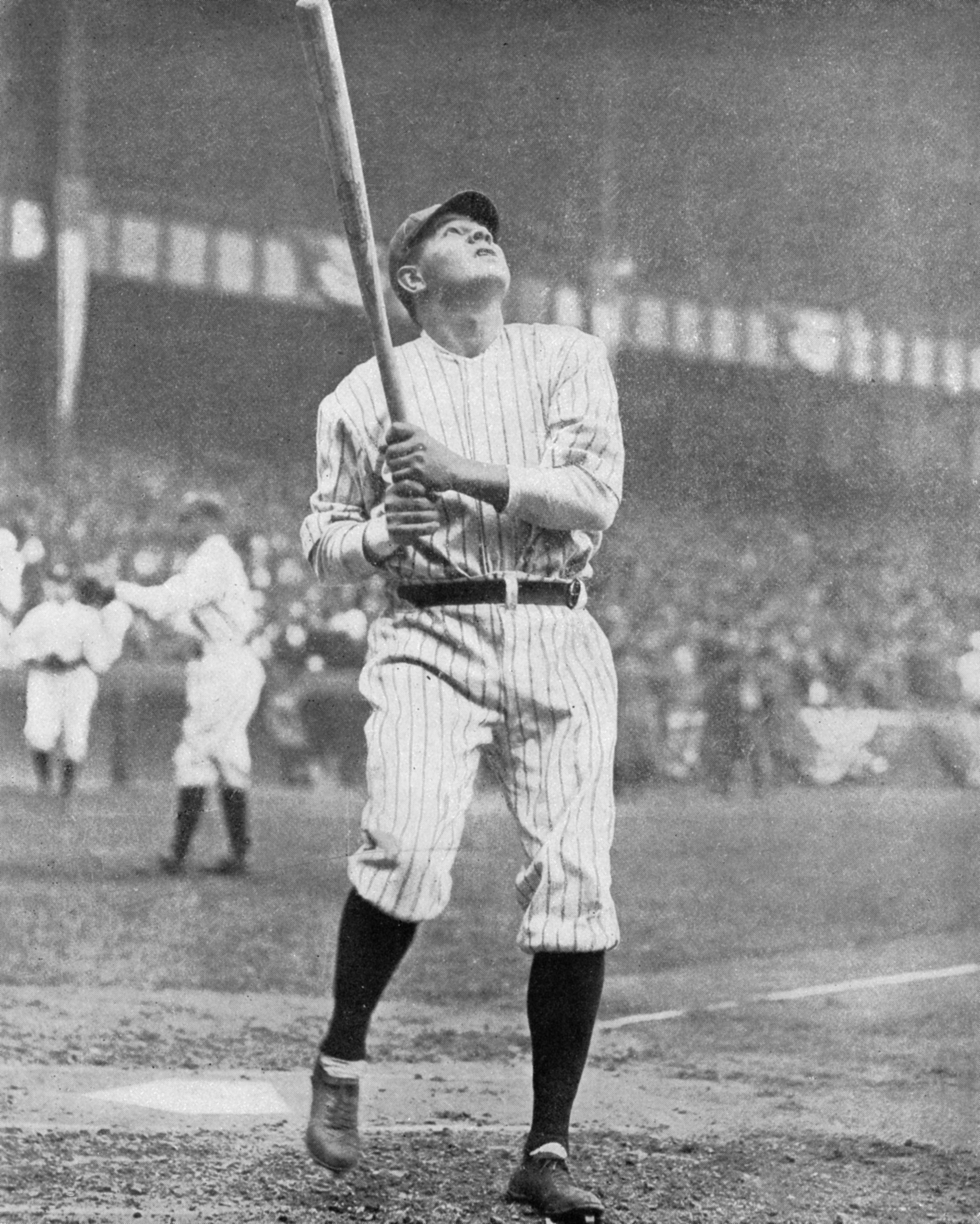 Babe Ruth swinging at the Polo Grounds in 1921 (SABR-RUCKER ARCHIVE)