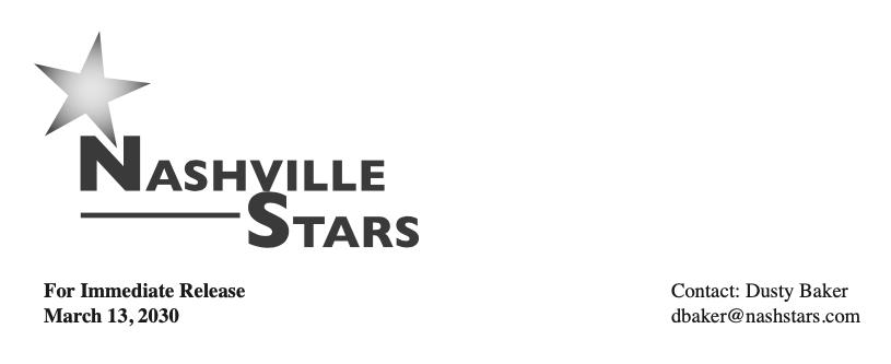 Nashville Stars letterhead (DUSTY BAKER)