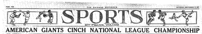 Chicago Defender headline, September 17, 1921 (COURTESY OF DONNA HALPER)