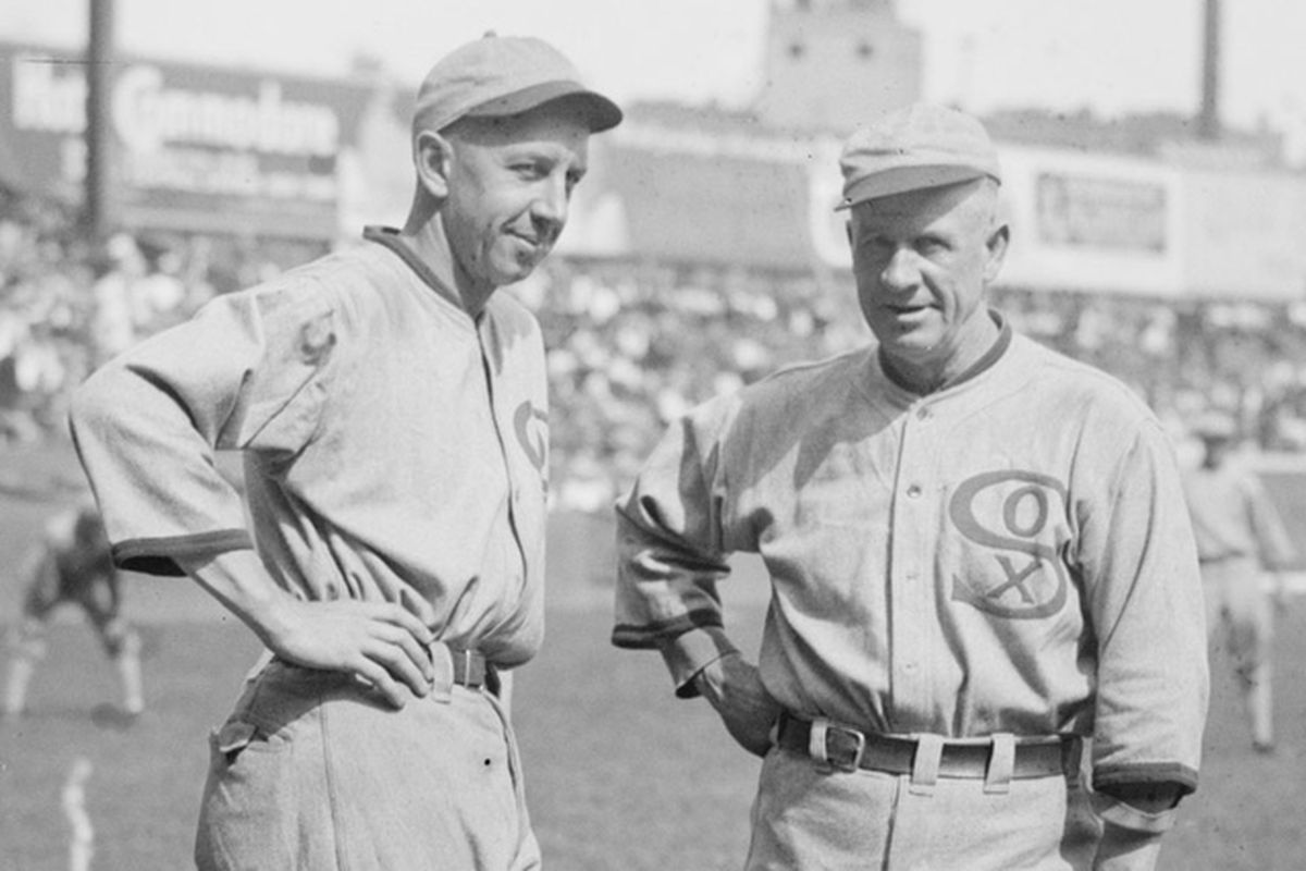 Eddie Collins, left, and manager Kid Gleason were left to pick up the pieces after the Chicago White Sox lost most of their championship core following the Black Sox Scandal (LIBRARY OF CONGRESS)