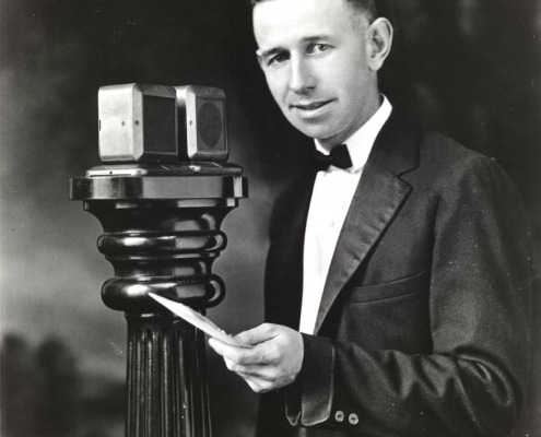 Broadcaster Harold Arlin of KDKA in 1925 (George Westinghouse Museum Collection, Detre Library & Archives Division, Senator John Heinz History Center Pittsburgh, PA)