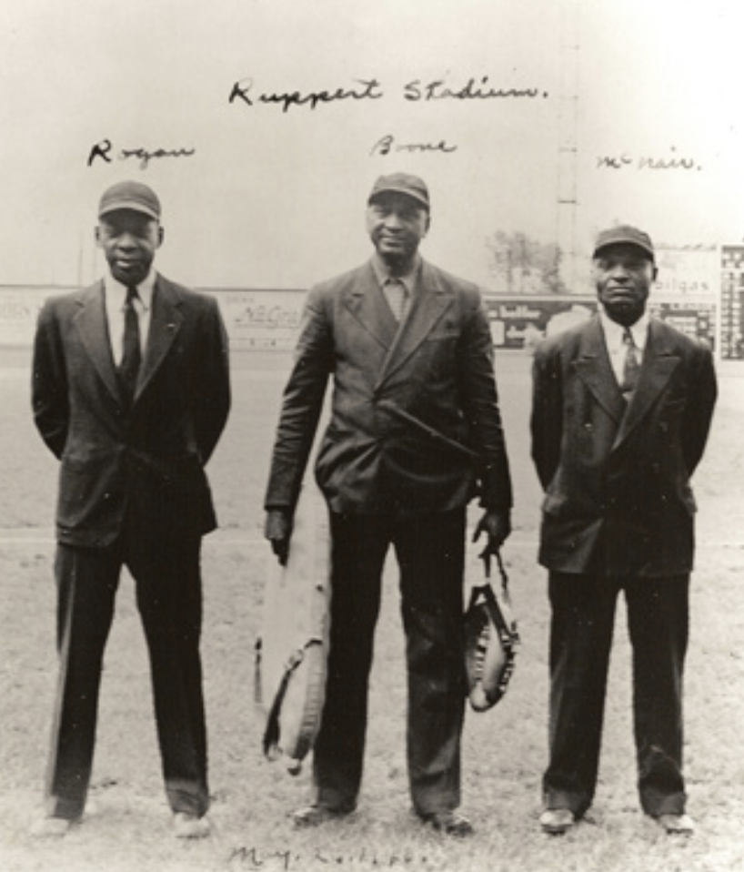 "Umpires ""Bullet"" Rogan, Robert Boone, and Hurley McNair, Ruppert Stadium, May 2, 1940. (NOIR-TECH RESEARCH)"
