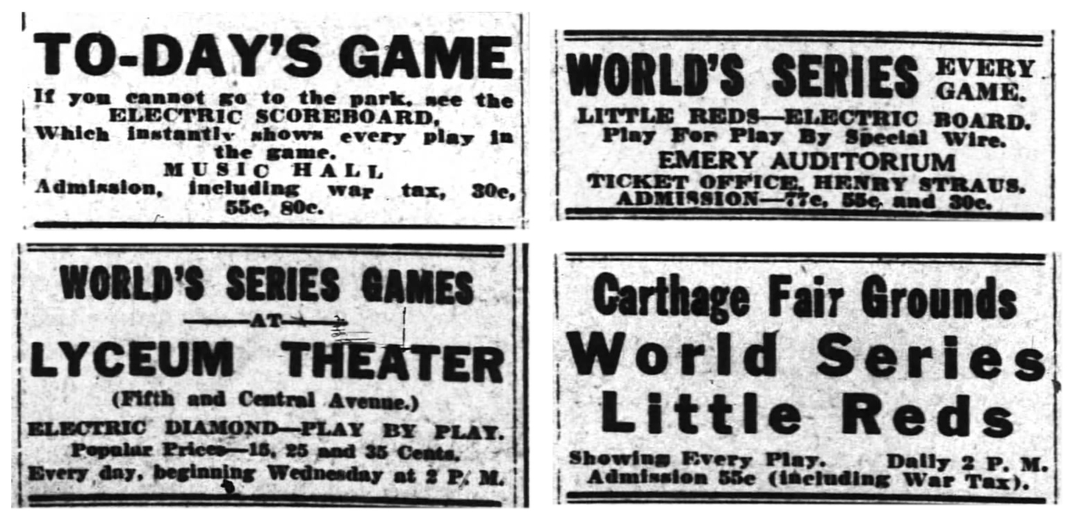 """Baseball fans in Cincinnati had a bevy of options for following the 1919 World Series on """"electric scoreboards,"""" which utilized telegraph technology to update fans on what was happening at Redland Field during the game. (CINCINNATI ENQUIRER, OCTOBER 1, 1919)"""