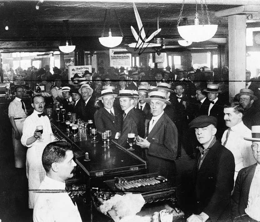 Interior of a crowded bar moments before midnight, June 30, 1919, when wartime prohibition went into effect New York City (LIBRARY OF CONGRESS)