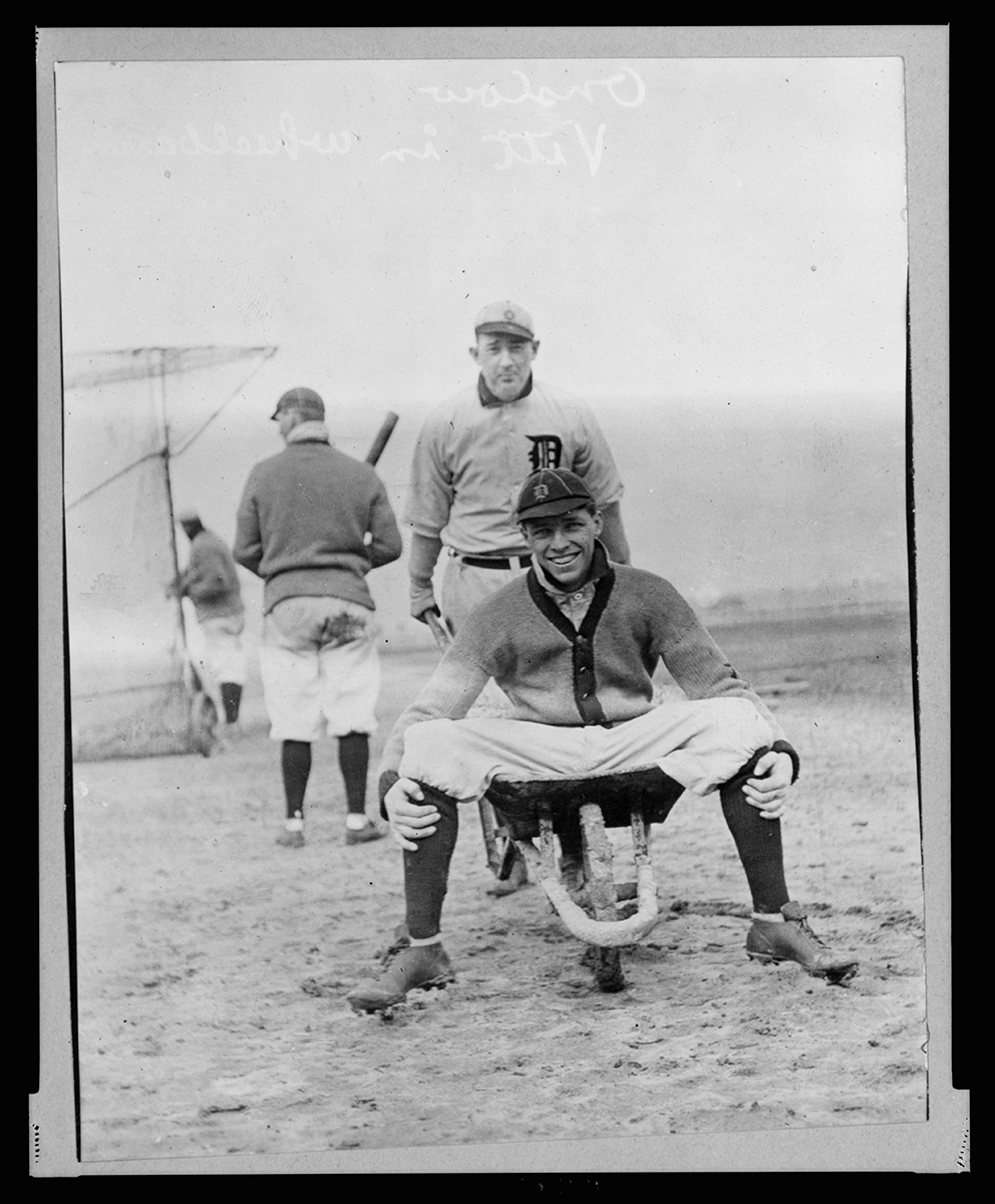 Ossie Vitt, as a young Tiger, being pushed in a wheelbarrow by Jack Onslow, 1912 (LIBRARY OF CONGRESS)