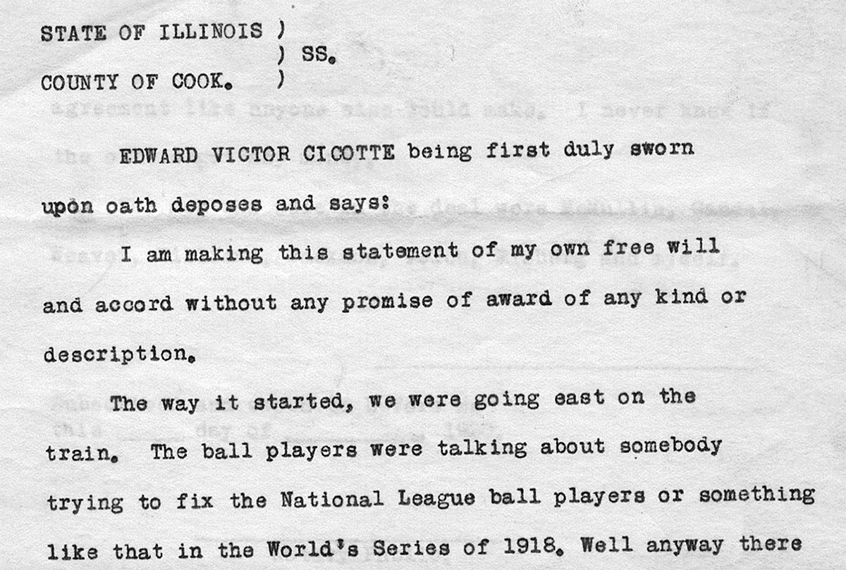 A copy of Eddie Cicotte's grand jury testimony from September 1920 is now held at the Chicago History Museum (COURTESY OF JACOB POMRENKE)
