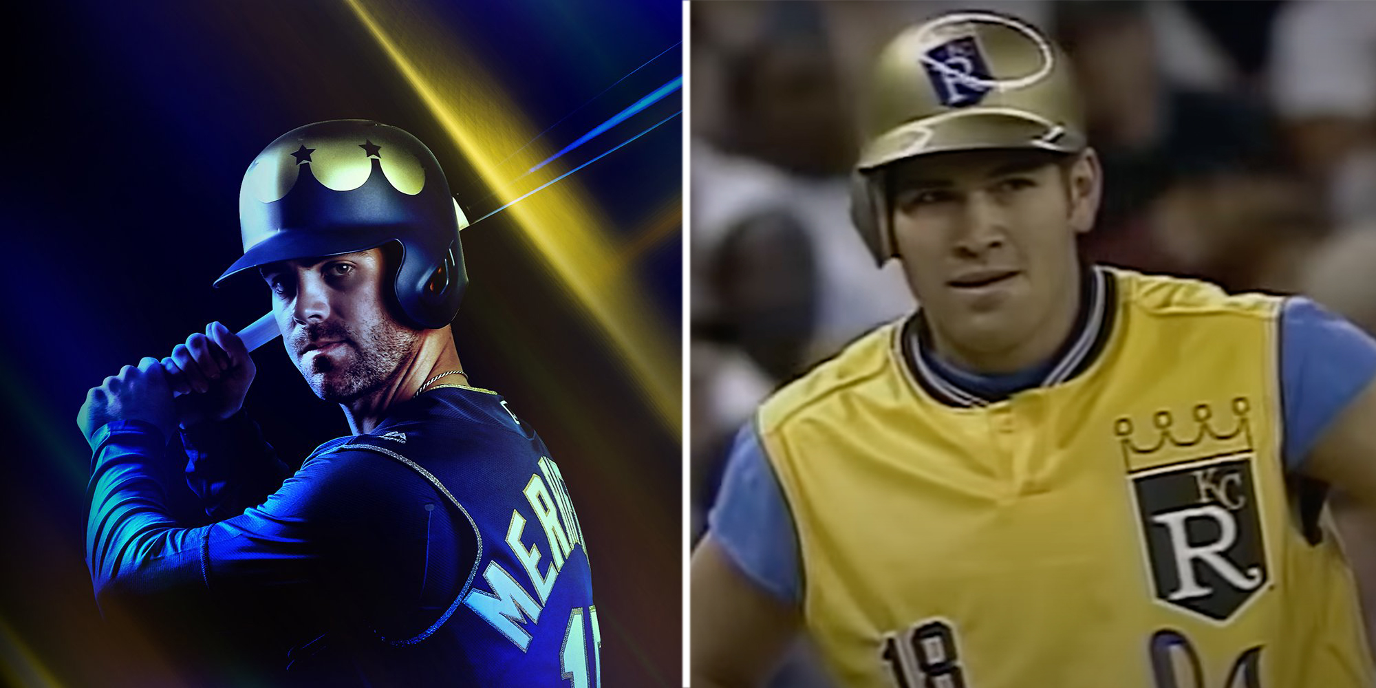 The Kansas City Royals had so much fun on Turn Ahead the Clock Night, they decided to bring the promotion back for its 20th anniversary in 2018. Pictured here are (L) Whit Merrifield in 2018 and (R) Johnny Damon in 1998. (KANSAS CITY ROYALS)