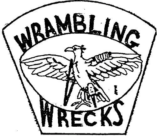 Insignia of the Wrambling Wrecks, the group of disabled veterans that sponsored youth games in San Antonio, Texas.