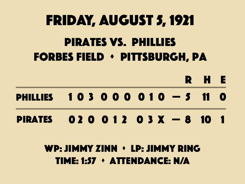 August 5, 1921: Pirates vs. Phillies line score