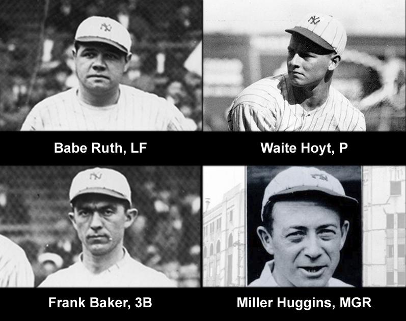 1921 New York Yankees future Hall of Famers: Top: Babe Ruth, LF; Waite Hoyt, P Bottom: Frank Baker, 3B; Miller Huggins, MGR