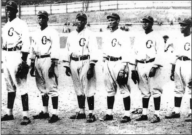 1934 Pittsburgh Crawfords pitchers, from left: Satchel Paige, Leroy Matlock, William Bell, Harry Kincannon, Sam Streeter, and Bertrum Hunter. All were expected to return in 1935, but Paige held out and Bell joined the Brooklyn Eagles in midseason. (CENTER FOR NEGRO LEAGUE BASEBALL RESEARCH)
